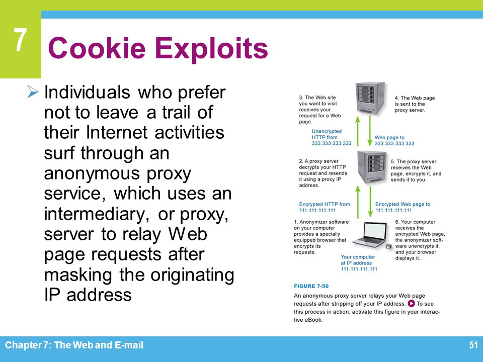 7 Cookie Exploits  Individuals who prefer not to leave a trail of their Internet activities surf through an anonymous proxy service, which uses an in
