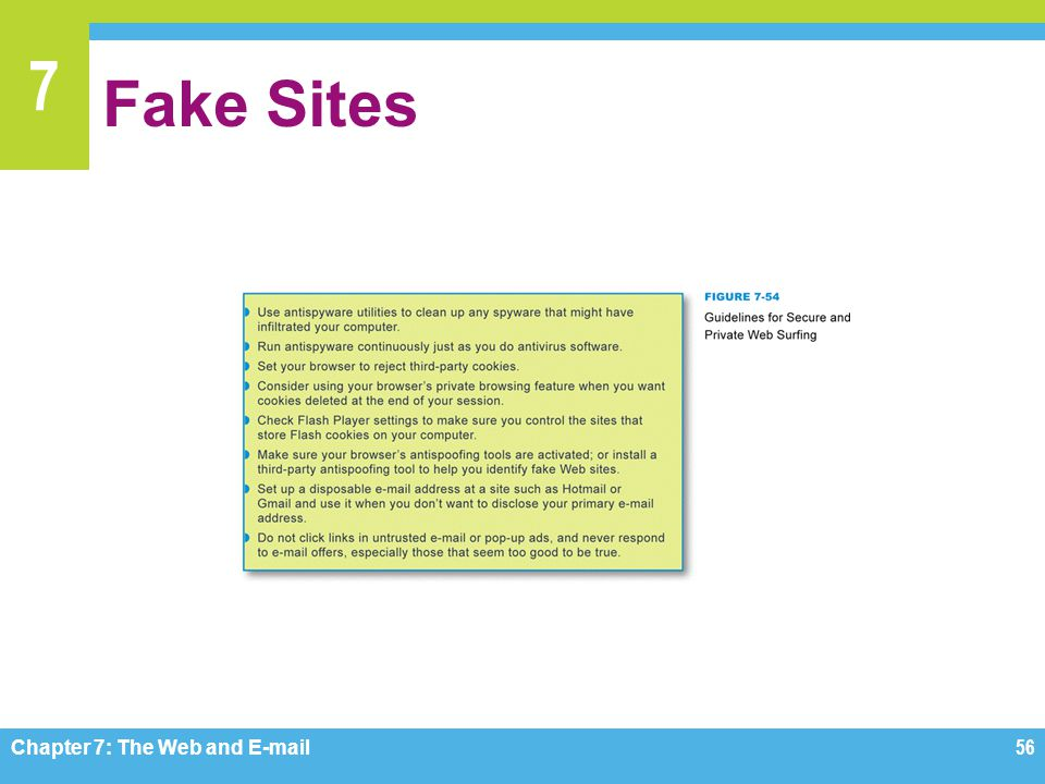 7 Fake Sites Chapter 7: The Web and E-mail56