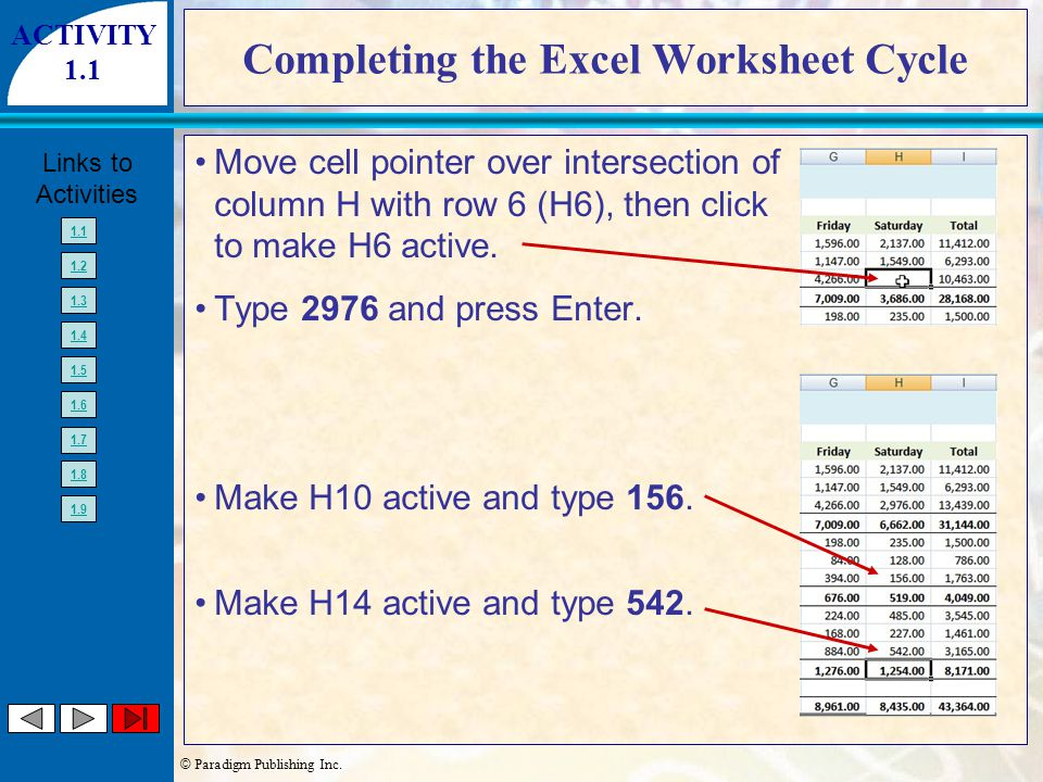 © Paradigm Publishing Inc. Links to Activities 1.1 1.2 1.3 1.4 1.5 1.6 1.7 1.8 1.9 Completing the Excel Worksheet Cycle Move cell pointer over interse