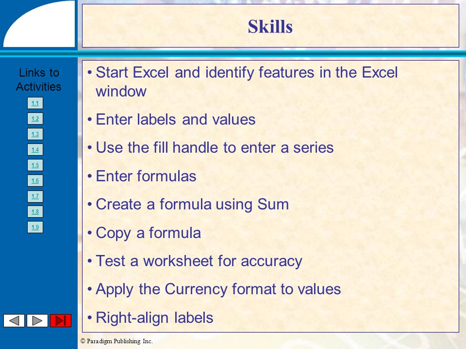 © Paradigm Publishing Inc. Links to Activities 1.1 1.2 1.3 1.4 1.5 1.6 1.7 1.8 1.9 Skills Start Excel and identify features in the Excel window Enter