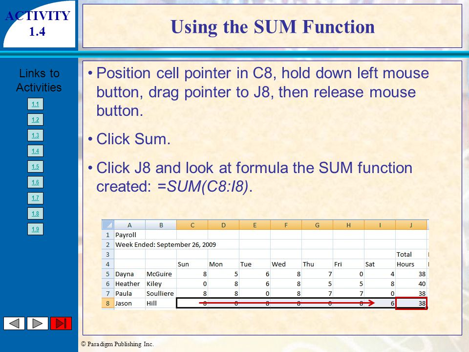 © Paradigm Publishing Inc. Links to Activities 1.1 1.2 1.3 1.4 1.5 1.6 1.7 1.8 1.9 Using the SUM Function Position cell pointer in C8, hold down left