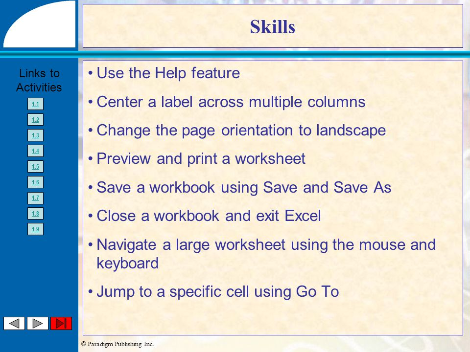© Paradigm Publishing Inc. Links to Activities 1.1 1.2 1.3 1.4 1.5 1.6 1.7 1.8 1.9 Skills Use the Help feature Center a label across multiple columns
