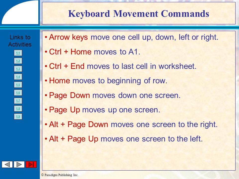 © Paradigm Publishing Inc. Links to Activities 1.1 1.2 1.3 1.4 1.5 1.6 1.7 1.8 1.9 Keyboard Movement Commands Arrow keys move one cell up, down, left