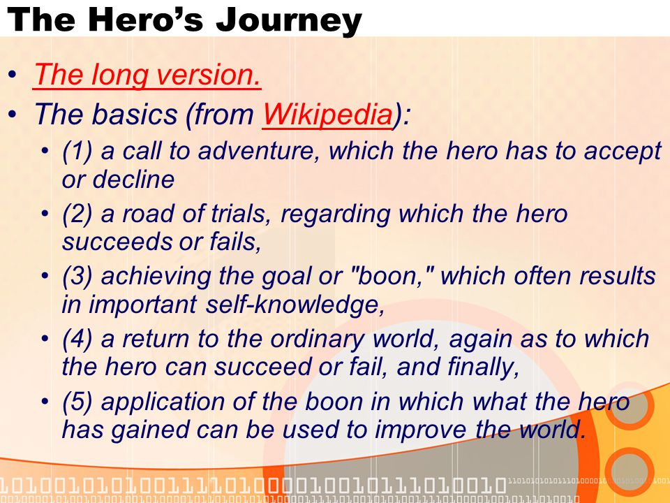 The Hero's Journey The long version.
