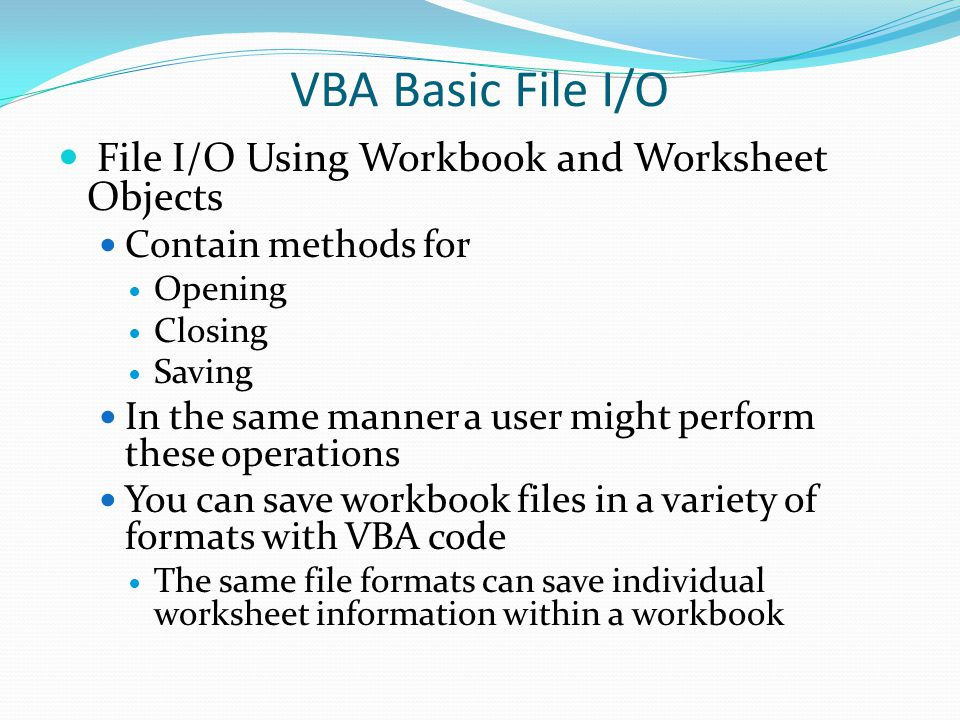 VBA Basic File I/O A reference must be set to the Microsoft Office object Library before you can use the FileDialog object.