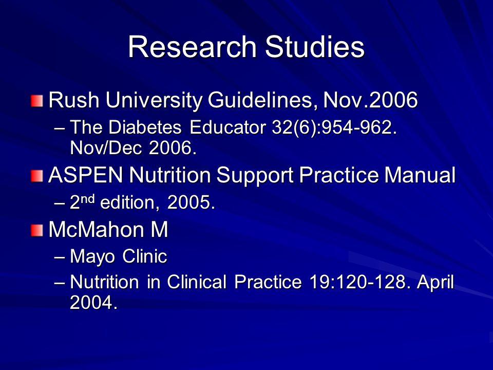 Research Studies Rush University Guidelines, Nov.2006 –The Diabetes Educator 32(6):954-962. Nov/Dec 2006. ASPEN Nutrition Support Practice Manual –2 n