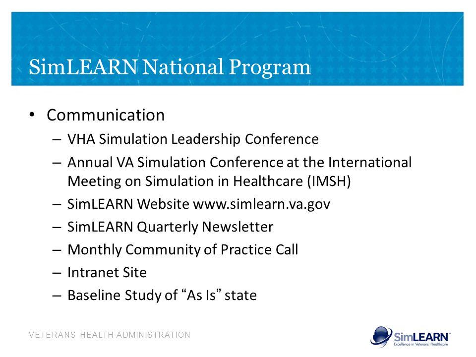 VETERANS HEALTH ADMINISTRATION SimLEARN National Program Communication – VHA Simulation Leadership Conference – Annual VA Simulation Conference at the