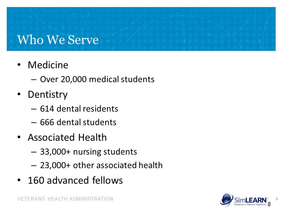 VETERANS HEALTH ADMINISTRATION Who We Serve Medicine – Over 20,000 medical students Dentistry – 614 dental residents – 666 dental students Associated