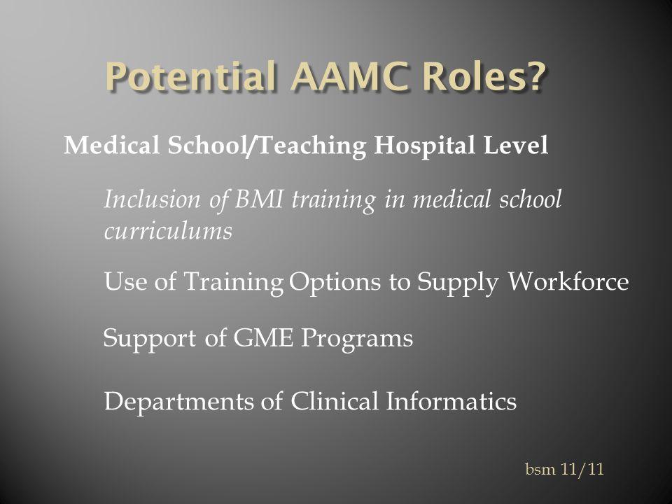 Potential AAMC Roles.