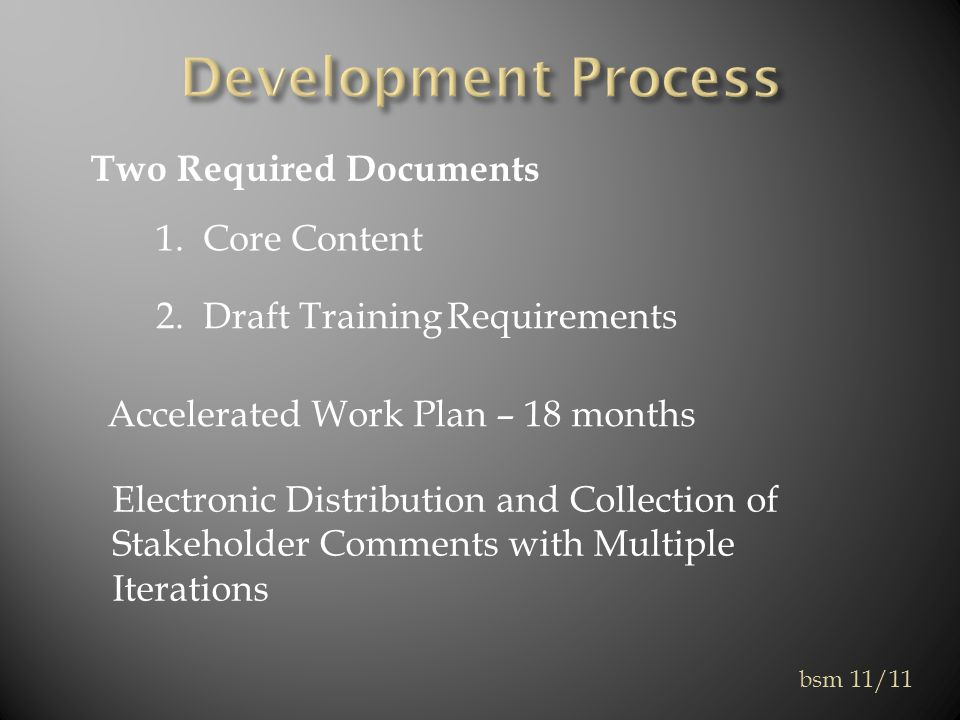 Two Required Documents 1. Core Content 2.