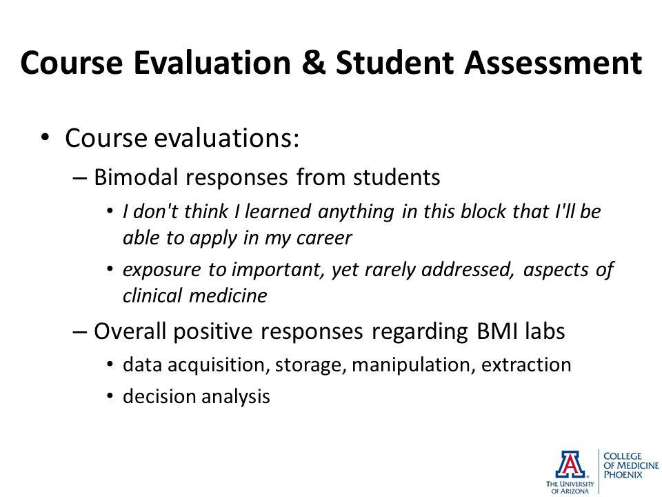 Course Evaluation & Student Assessment Course evaluations: – Bimodal responses from students I don't think I learned anything in this block that I'll