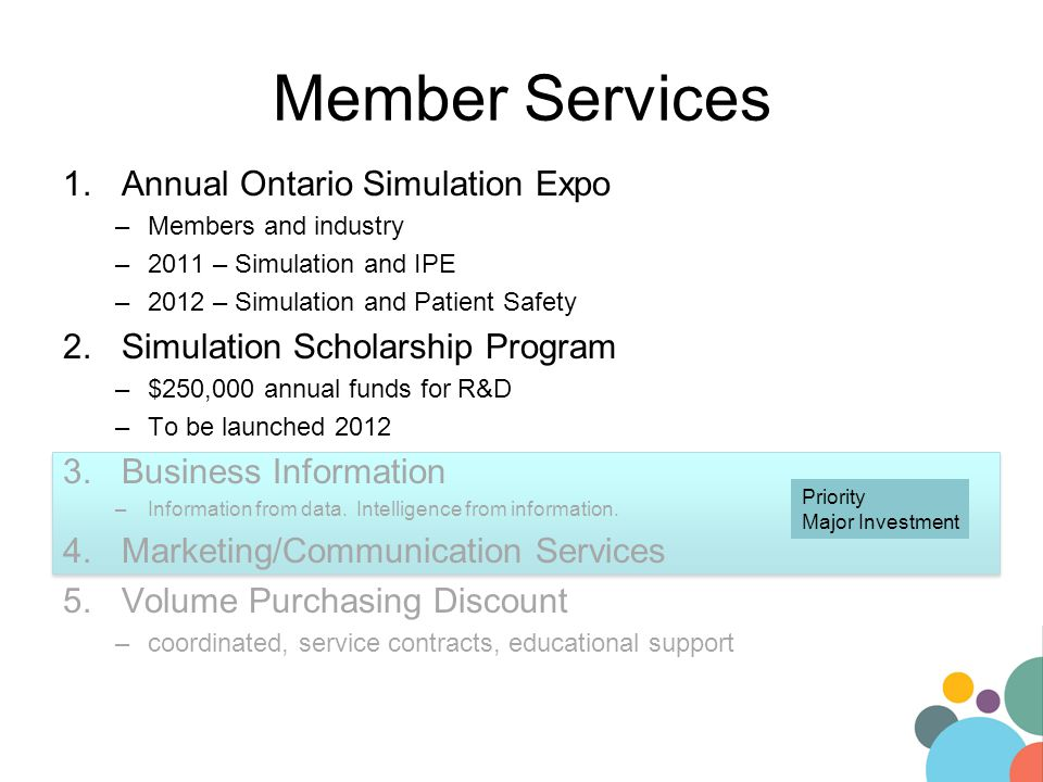 Priority Major Investment Member Services 1.Annual Ontario Simulation Expo –Members and industry –2011 – Simulation and IPE –2012 – Simulation and Pat