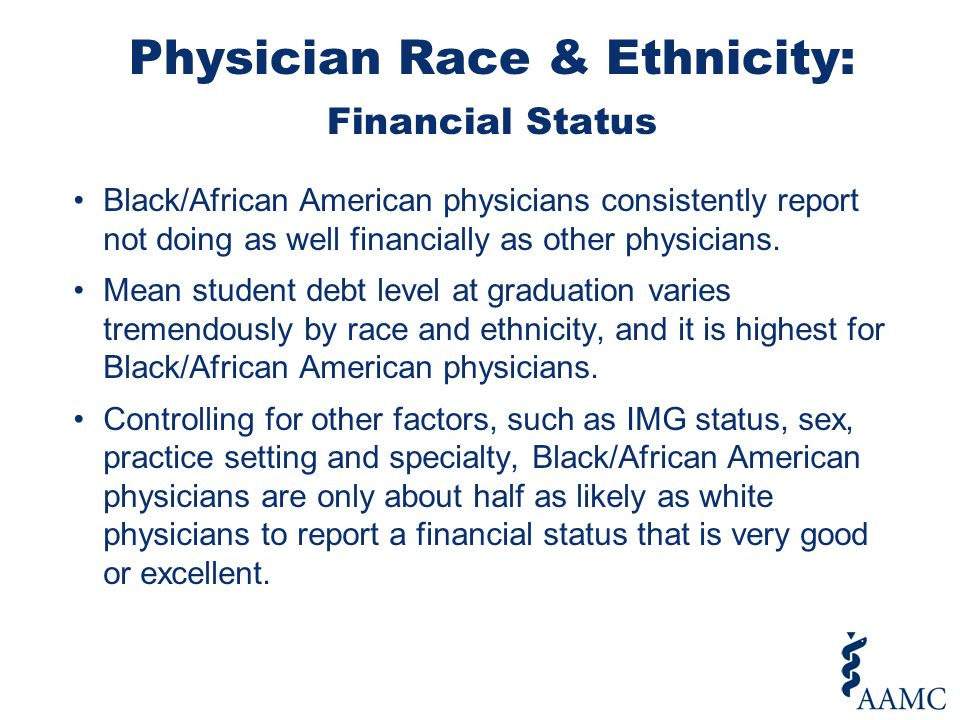 Black/African American physicians consistently report not doing as well financially as other physicians.