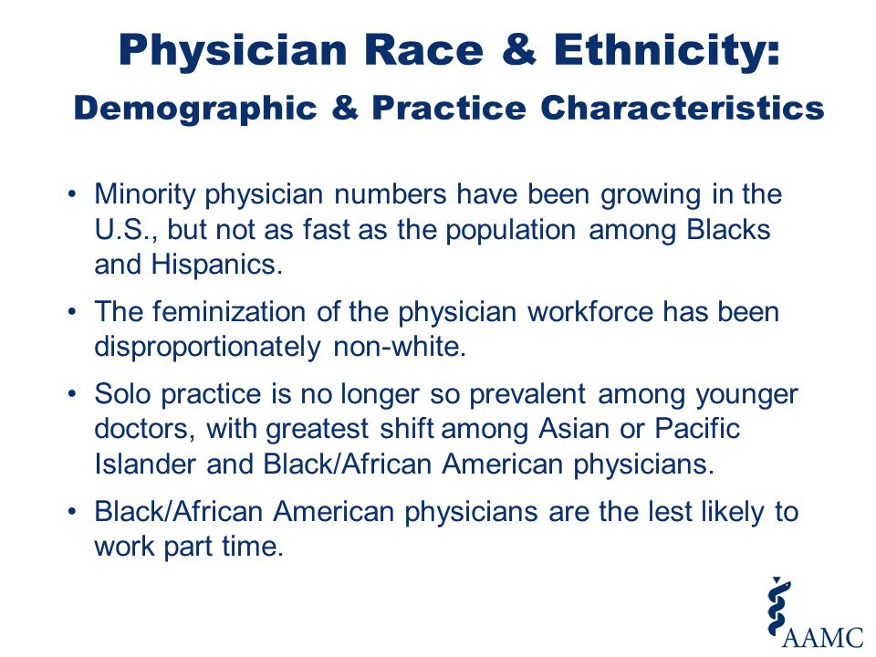 Minority physician numbers have been growing in the U.S., but not as fast as the population among Blacks and Hispanics. The feminization of the physic
