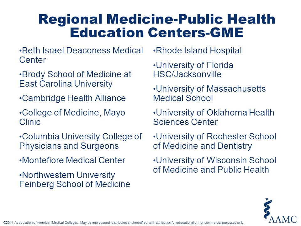 Regional Medicine-Public Health Education Centers-GME Beth Israel Deaconess Medical Center Brody School of Medicine at East Carolina University Cambridge Health Alliance College of Medicine, Mayo Clinic Columbia University College of Physicians and Surgeons Montefiore Medical Center Northwestern University Feinberg School of Medicine Rhode Island Hospital University of Florida HSC/Jacksonville University of Massachusetts Medical School University of Oklahoma Health Sciences Center University of Rochester School of Medicine and Dentistry University of Wisconsin School of Medicine and Public Health
