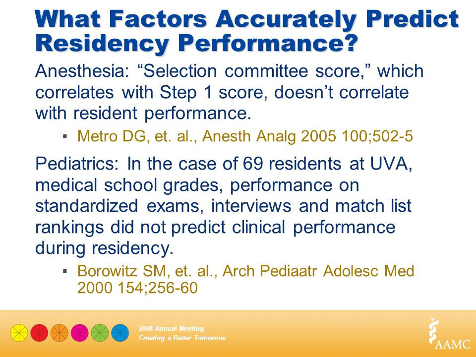 "Creating a Better Tomorrow 2008 Annual Meeting What Factors Accurately Predict Residency Performance? Anesthesia: ""Selection committee score,"" which c"