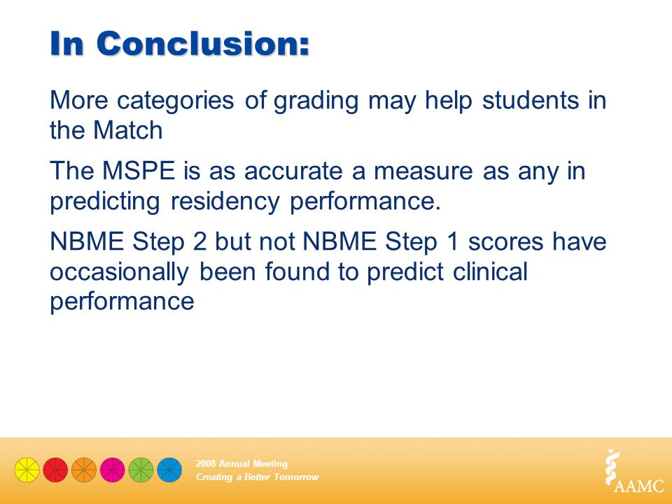 Creating a Better Tomorrow 2008 Annual Meeting In Conclusion: More categories of grading may help students in the Match The MSPE is as accurate a meas