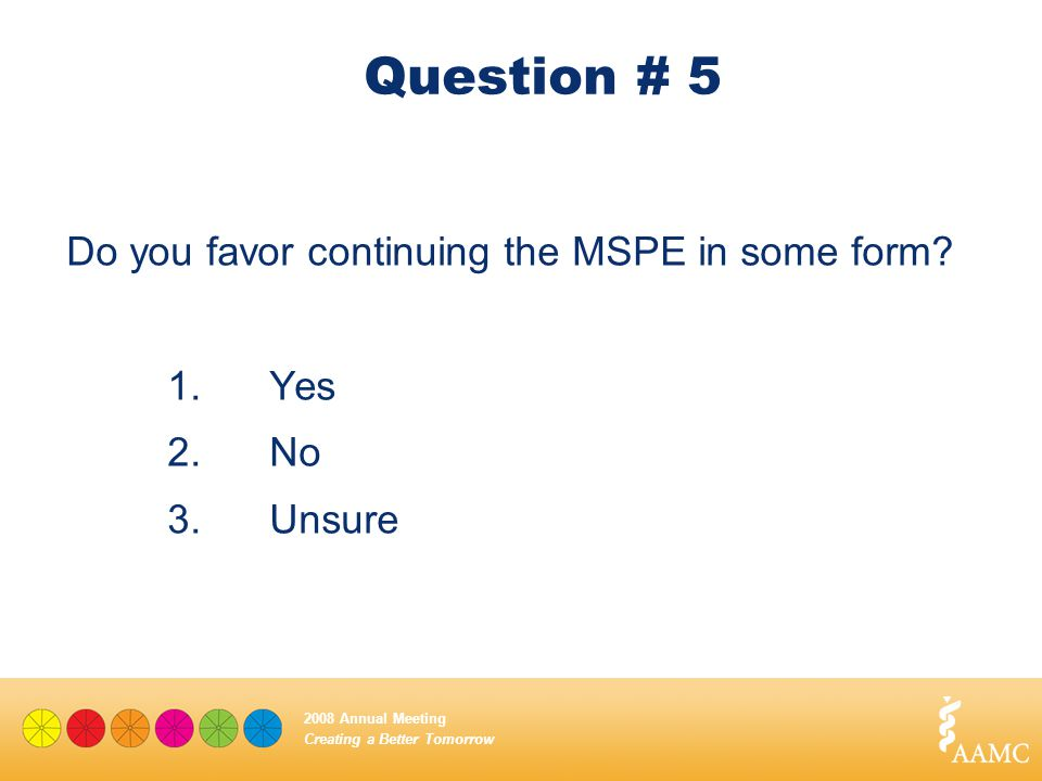 Creating a Better Tomorrow 2008 Annual Meeting Question # 5 Do you favor continuing the MSPE in some form? 1.Yes 2.No 3. Unsure
