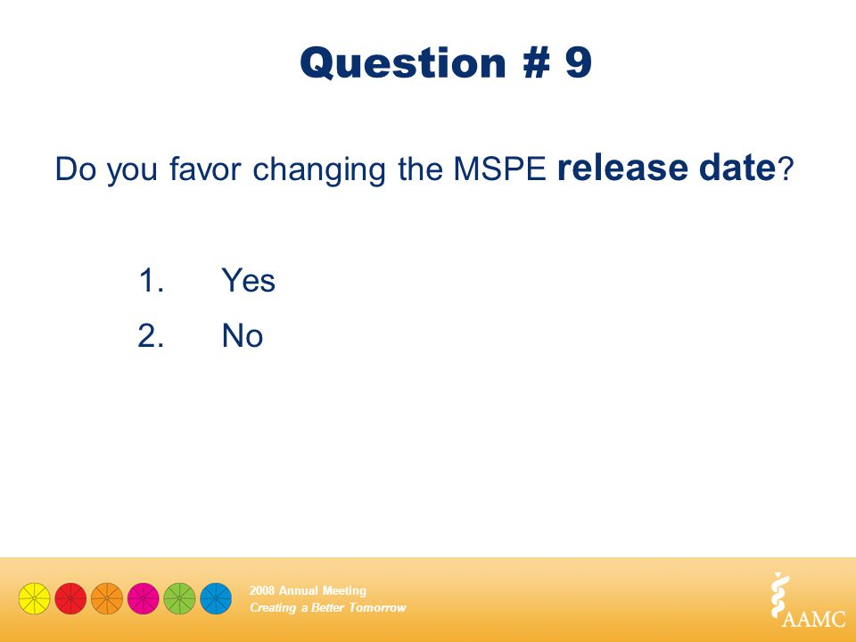 Creating a Better Tomorrow 2008 Annual Meeting Question # 9 Do you favor changing the MSPE release date ? 1. Yes 2.No