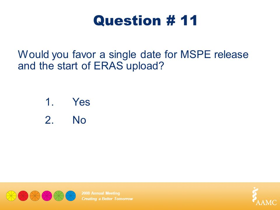 Creating a Better Tomorrow 2008 Annual Meeting Question # 11 Would you favor a single date for MSPE release and the start of ERAS upload? 1.Yes 2.No