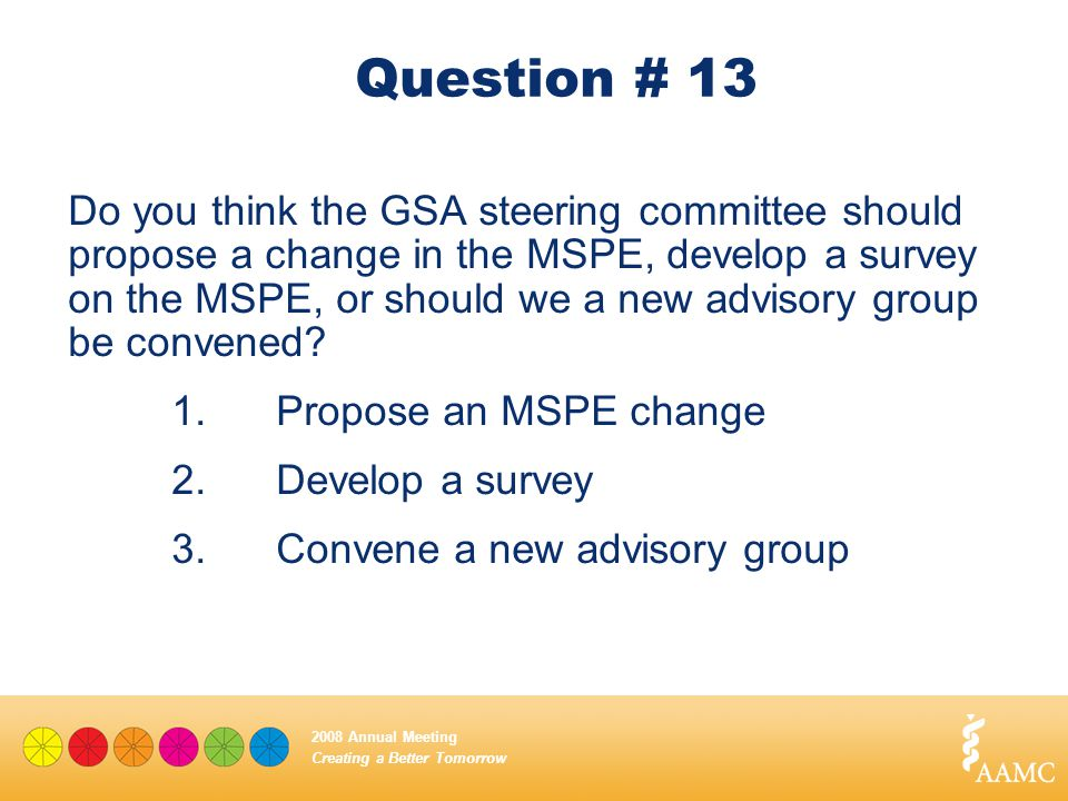 Creating a Better Tomorrow 2008 Annual Meeting Question # 13 Do you think the GSA steering committee should propose a change in the MSPE, develop a su