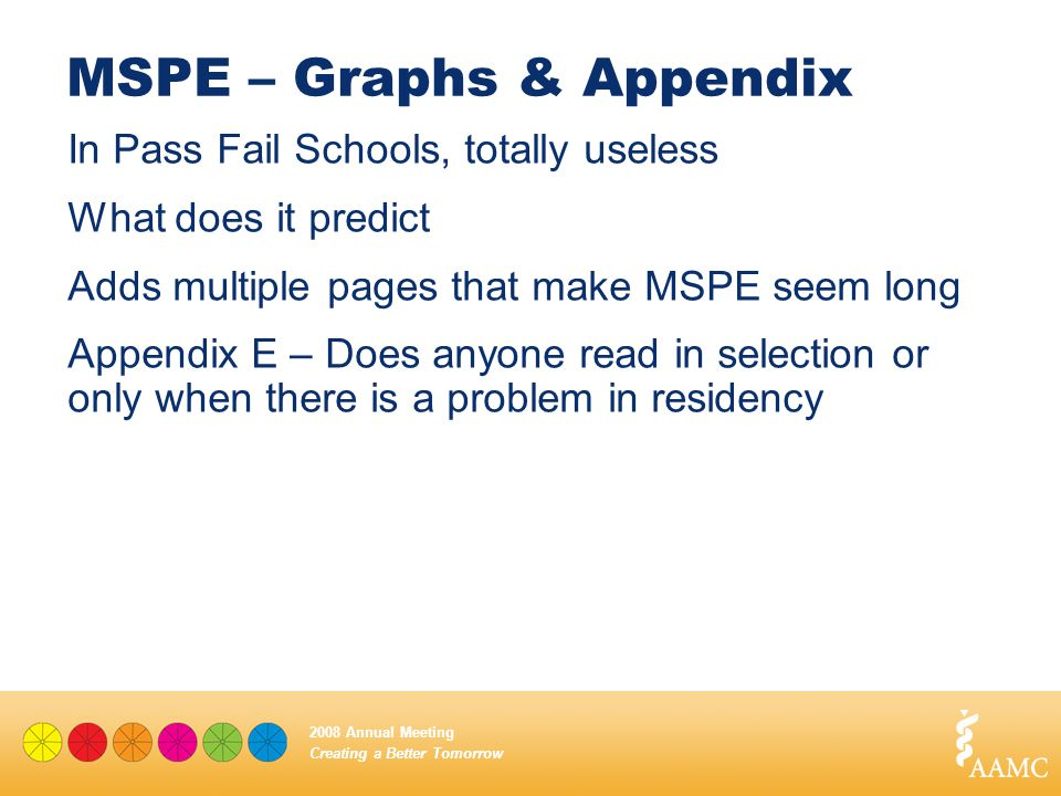 Creating a Better Tomorrow 2008 Annual Meeting MSPE – Graphs & Appendix In Pass Fail Schools, totally useless What does it predict Adds multiple pages