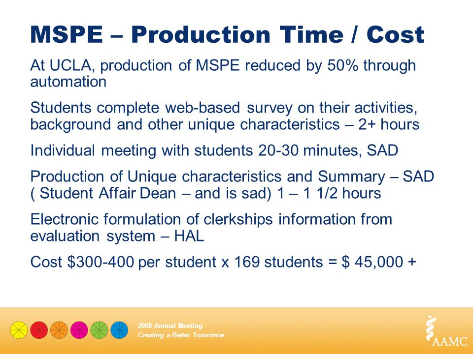 Creating a Better Tomorrow 2008 Annual Meeting MSPE – Production Time / Cost At UCLA, production of MSPE reduced by 50% through automation Students co