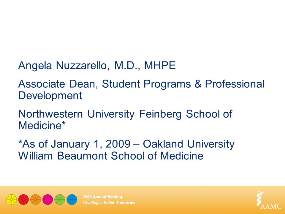 Creating a Better Tomorrow 2008 Annual Meeting Angela Nuzzarello, M.D., MHPE Associate Dean, Student Programs & Professional Development Northwestern