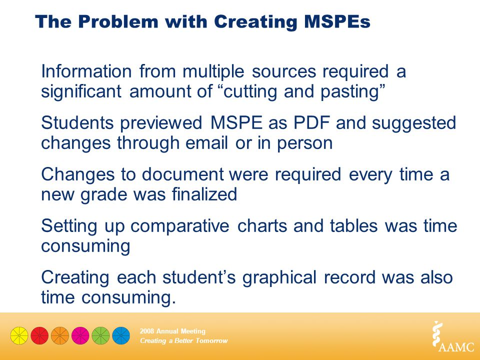 "Creating a Better Tomorrow 2008 Annual Meeting The Problem with Creating MSPEs Information from multiple sources required a significant amount of ""cut"
