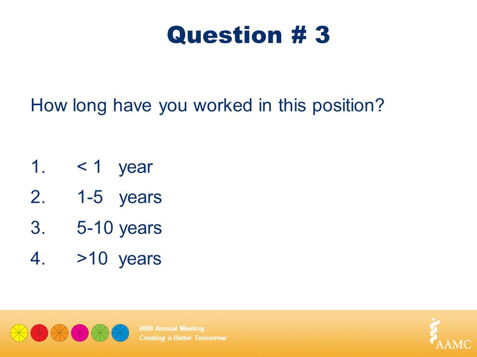 Creating a Better Tomorrow 2008 Annual Meeting Question # 3 How long have you worked in this position? 1.< 1 year 2.1-5 years 3.5-10 years 4.>10 years