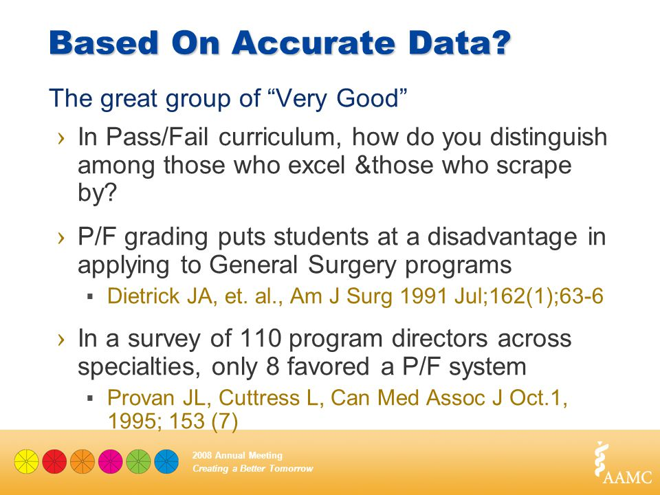 "Creating a Better Tomorrow 2008 Annual Meeting Based On Accurate Data? The great group of ""Very Good"" › In Pass/Fail curriculum, how do you distinguis"
