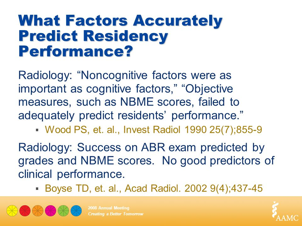 "Creating a Better Tomorrow 2008 Annual Meeting What Factors Accurately Predict Residency Performance? Radiology: ""Noncognitive factors were as importa"