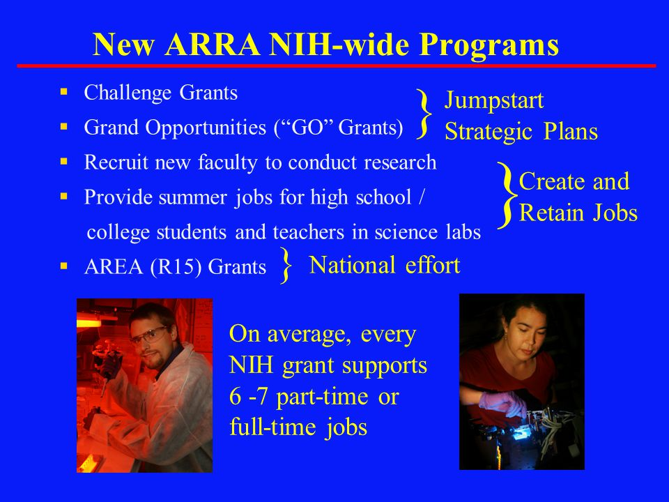 """New ARRA NIH-wide Programs  Challenge Grants  Grand Opportunities (""""GO"""" Grants)  Recruit new faculty to conduct research  Provide summer jobs for"""
