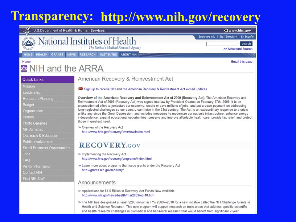 http://www.nih.gov/recovery Transparency: