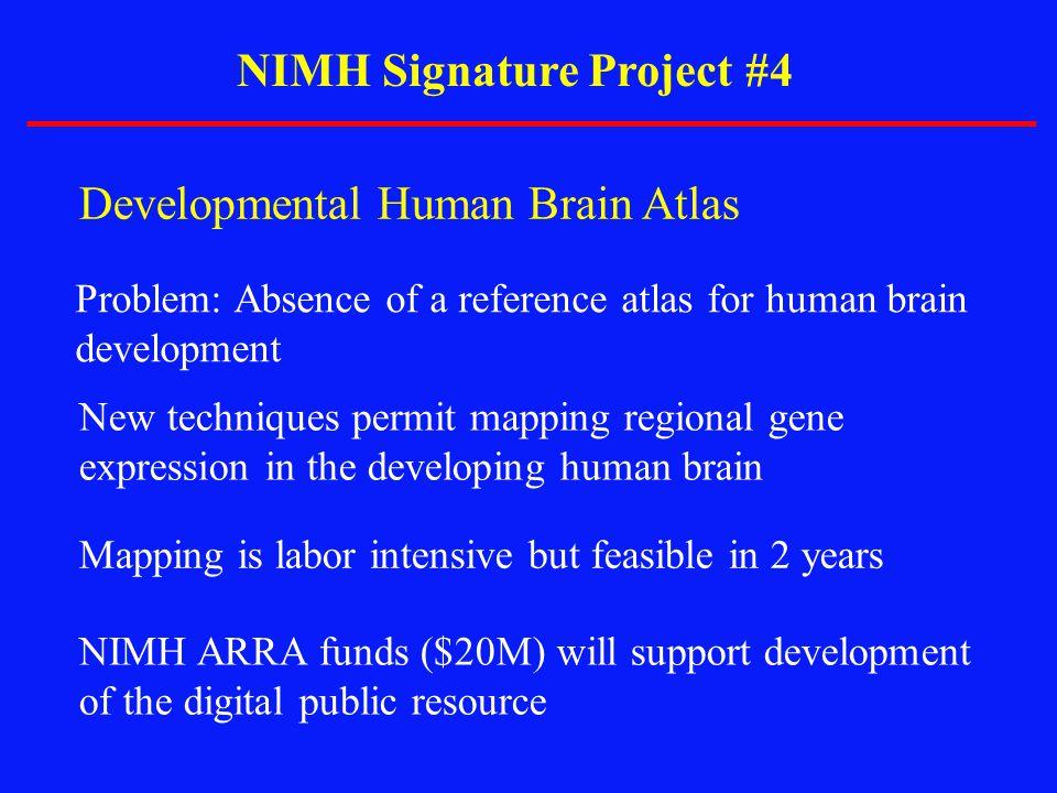 NIMH Signature Project #4 Developmental Human Brain Atlas Problem: Absence of a reference atlas for human brain development New techniques permit mapp