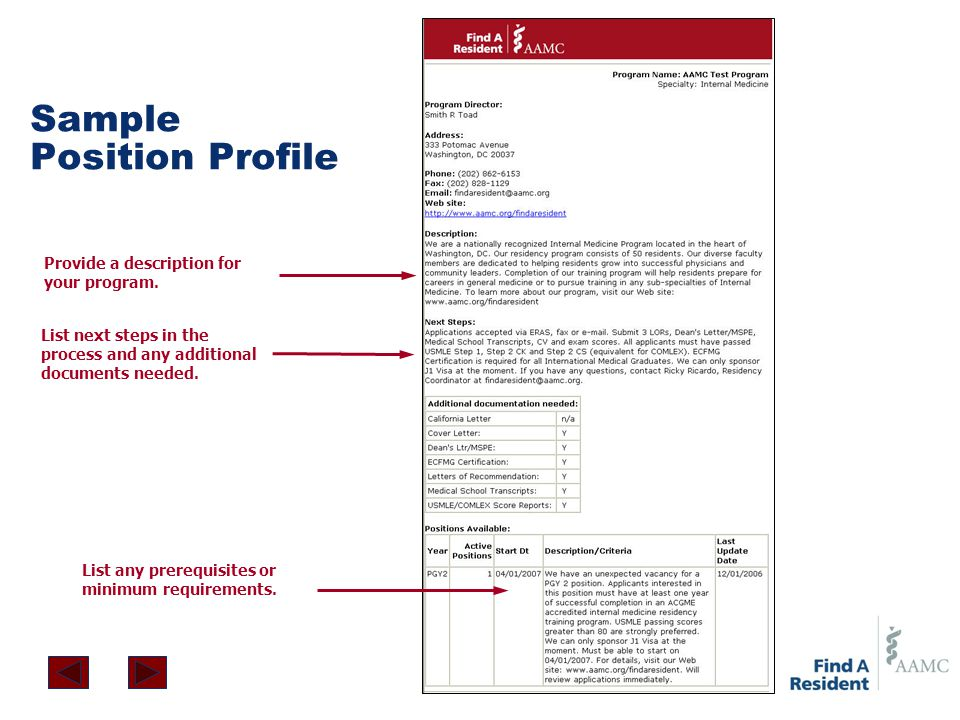 Sample Position Profile List any prerequisites or minimum requirements. List next steps in the process and any additional documents needed. Provide a