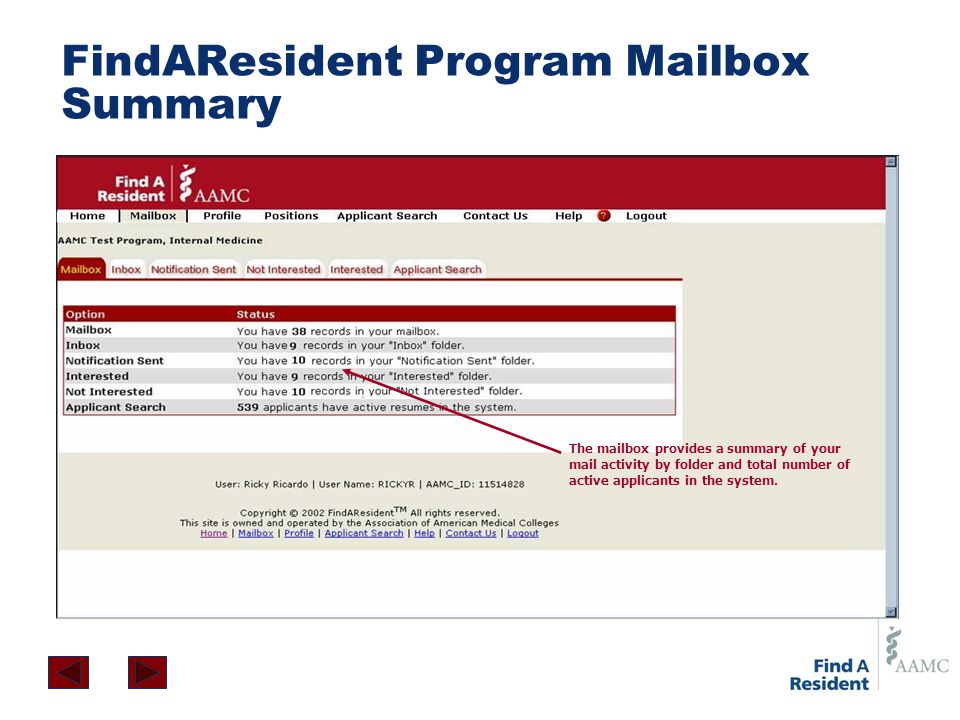 FindAResident Program Mailbox Summary The mailbox provides a summary of your mail activity by folder and total number of active applicants in the syst