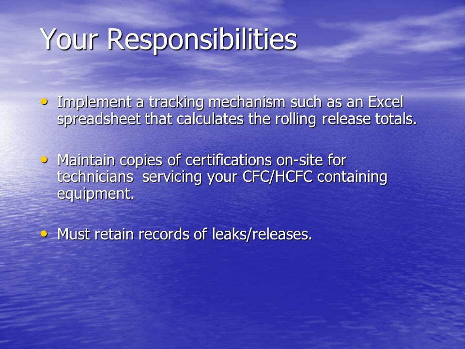 Your Responsibilities Implement a tracking mechanism such as an Excel spreadsheet that calculates the rolling release totals.
