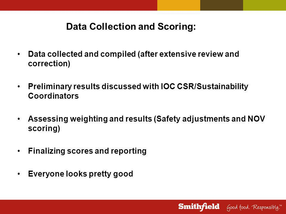 Data collected and compiled (after extensive review and correction) Preliminary results discussed with IOC CSR/Sustainability Coordinators Assessing weighting and results (Safety adjustments and NOV scoring) Finalizing scores and reporting Everyone looks pretty good Data Collection and Scoring: