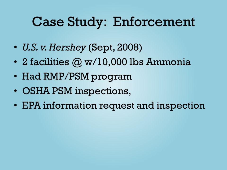 Case Study: Enforcement U.S. v. Hershey (Sept, 2008) 2 facilities @ w/10,000 lbs Ammonia Had RMP/PSM program OSHA PSM inspections, EPA information req