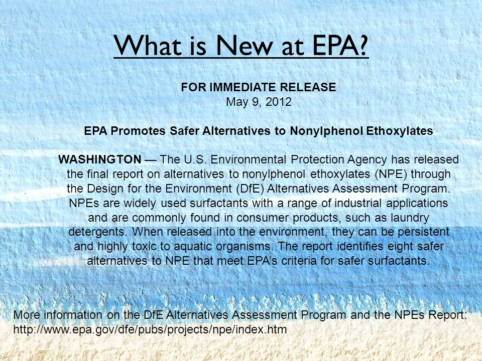 What is New at EPA.