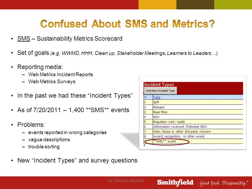SMS – Sustainability Metrics Scorecard Set of goals (e.g.