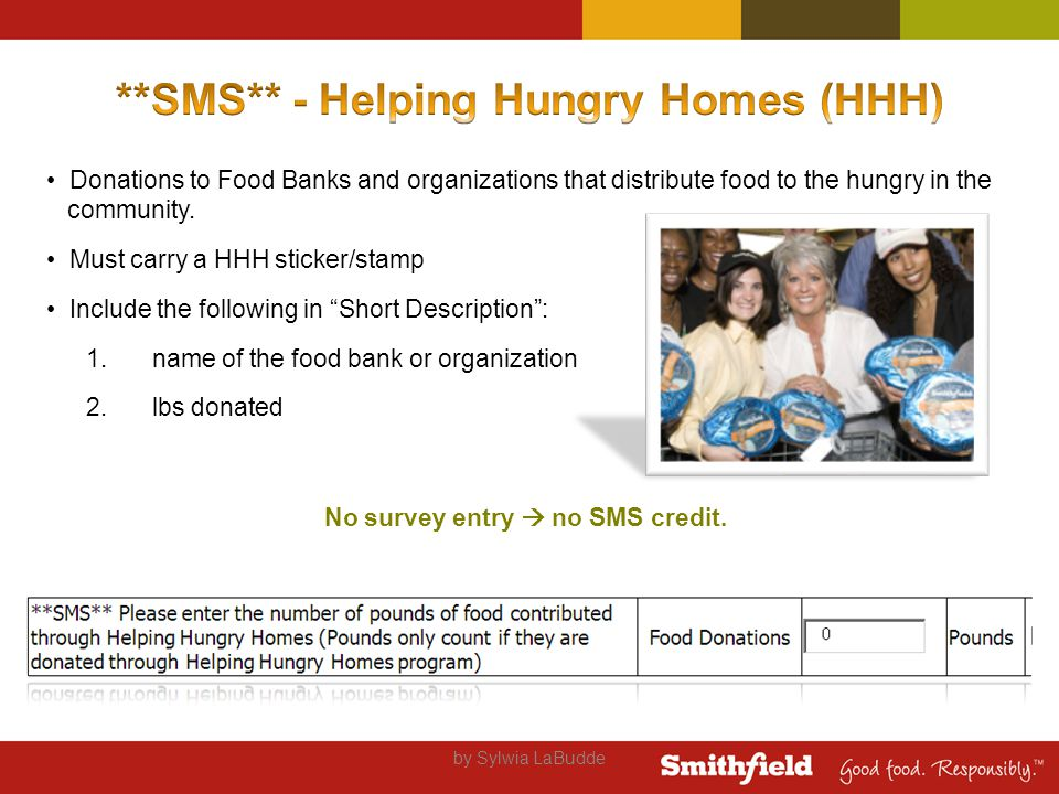 Donations to Food Banks and organizations that distribute food to the hungry in the community.