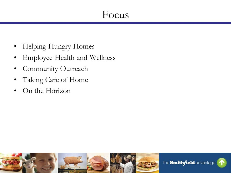 Focus Helping Hungry Homes Employee Health and Wellness Community Outreach Taking Care of Home On the Horizon