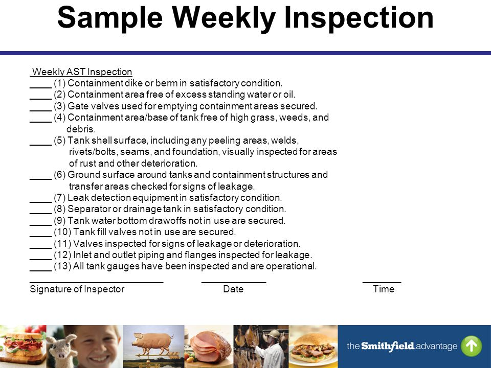 Sample Weekly Inspection Weekly AST Inspection ____ (1) Containment dike or berm in satisfactory condition.