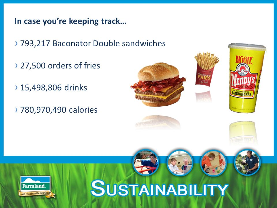 In case you're keeping track… › 793,217 Baconator Double sandwiches › 27,500 orders of fries › 15,498,806 drinks › 780,970,490 calories