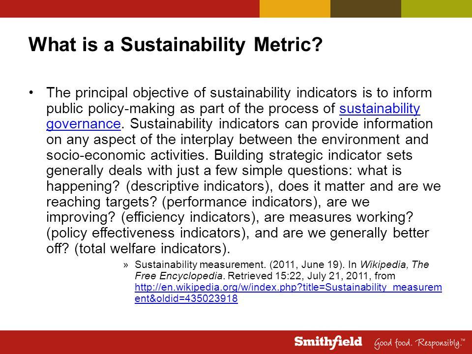 Why Sustainability Metrics.