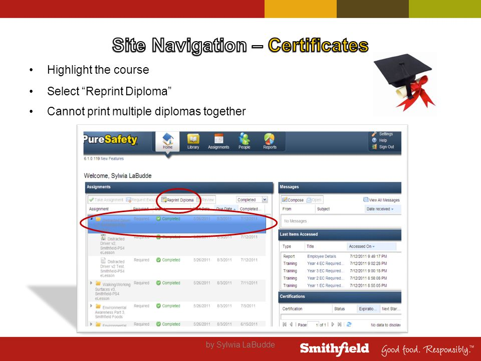 Highlight the course Select Reprint Diploma Cannot print multiple diplomas together by Sylwia LaBudde
