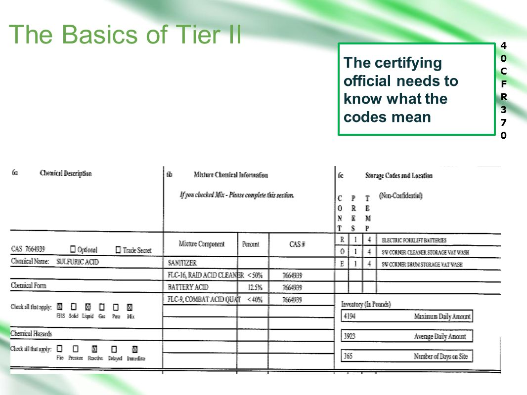 The certifying official needs to know what the codes mean The Basics of Tier II