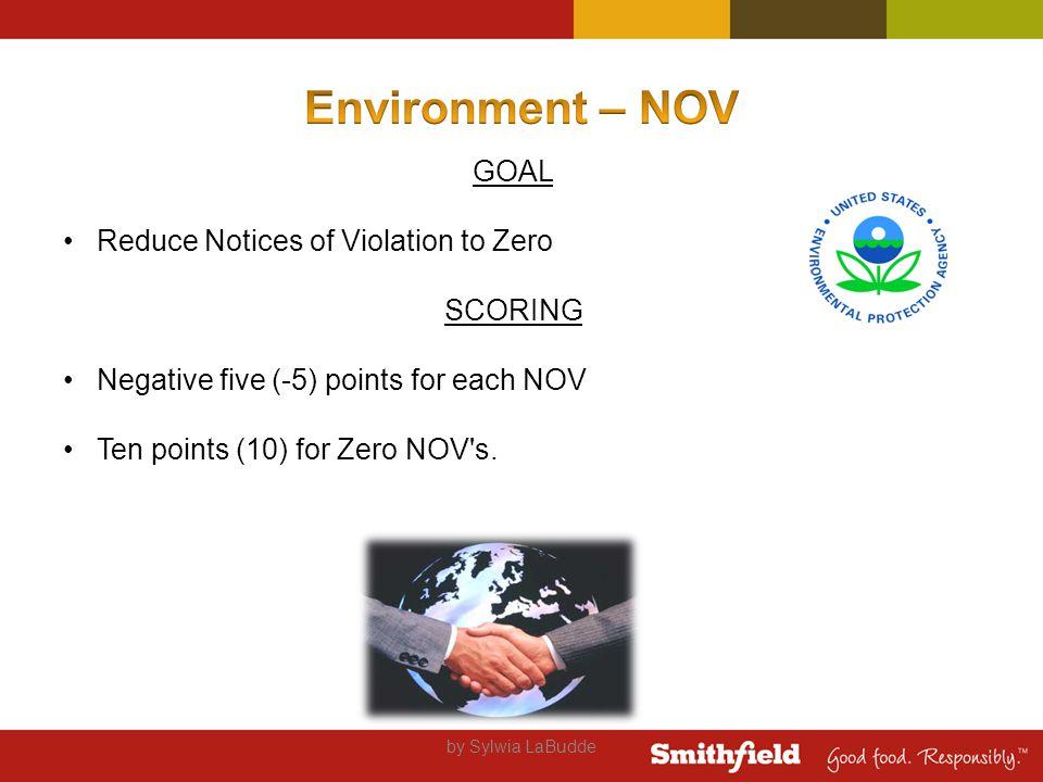 GOAL Reduce Notices of Violation to Zero SCORING Negative five (-5) points for each NOV Ten points (10) for Zero NOV s.